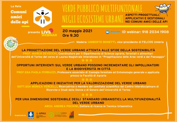 """Webinar 20 maggio 2021 """"Verde pubblico multifuzionale negli ecosistemi urbani"""""""